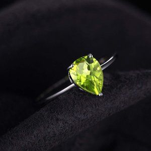 1.30ct Pear Peridot Ring - 925 Sterling Silver